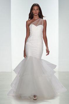 Amsale one-shoulder wedding dress