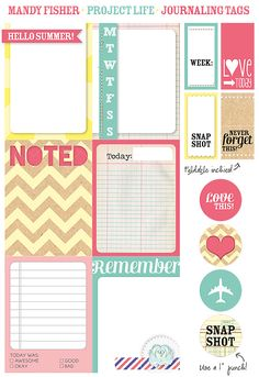 free printable project life cards