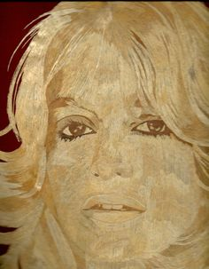 Goldie Hawn  Rice Straw art portrait  Handmade with by museumshop, $189.00    Hollywood star Handmade leaf art  by museumshop, No color paint or dye added to the natural color of rice straw (Dried leaves of rice plant).  This portrait is not a photo, painting, print but handmade with thousands of tiny pieces of rice straw.  COLLECTIBLE LEAF ART.