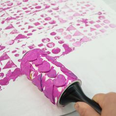 Did you know you can make a custom stamp from a lint roller?  All it takes some foam stamps to make it happen! rollers, idea, craft, foam stamp, art, lint roller, stamps, roller stamp, diy