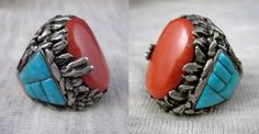 VINTAGE ZUNI TURQUOISE CORAL SILVER RING