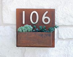 """Metal Address Plaque and Succulent Wall Planter - 12"""" x 12"""" Square with (3) Satin Nickel Address Numbers from Urban Mettle squares, metal, address plaqu, modern houses, house numbers, hanging planters, planter boxes, address number, wall planters"""