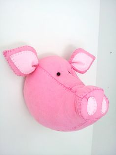 Wall Mounted Animal Heads in Fabric - Pablo Pig