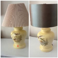 Lamp on left was one of a pair☺that we found at a second hand shop.I bought a new shade and added it to one of the bases- See picture on the right. A new lamp for under 20 dollars.