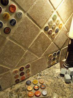 Bottlecap backsplash tile.for a Basement bar