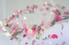 Pink Gray Girl Elephant Nursery Mobile Crib by LoveBugLullabies, $63.00
