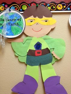 "This ""Earth Day Superhero"" is a super idea for an Earth Day creative writing activity and bulletin board display. super hero school ideas, creative writing, superhero school ideas, super hero crafts for kids, earth day, super heroes school, super hero activities for kids, paper crafts, second grade"