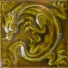 Victorian tile showing an oriental dragon design.    The Tile Museum, Jackfield, near Ironbridge, Shropshire.