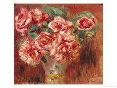 rose dan, canvas prints, roses, artcom, art histori, vase gicle, gicle print, pierreaugust renoir, renoir rose