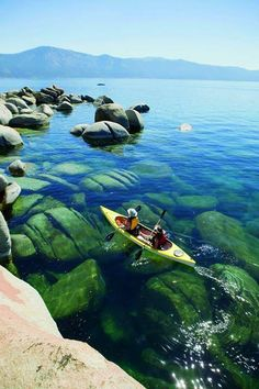Kayaking in crystal clear waters of Lake Tahoe is always a daily activity. #laketahoe