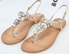 Free Shipping Fashion rhinestone 2013 smarten flat flip flop plus size flip flops shoes sandals women's shoes-inSandals from Shoes on Aliexpress.com $23.25