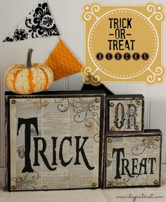 I Dig Pinterest: DIY Trick-or-Treat Wood Blocks...LOVE the vintage dictionary pages!