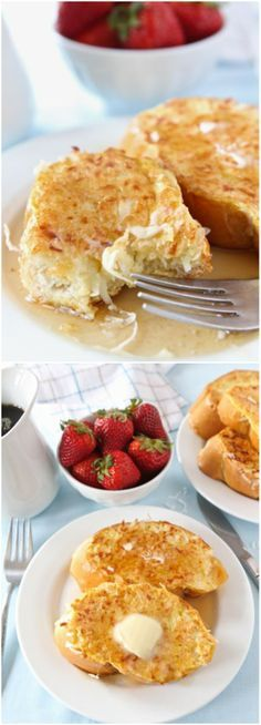 Coconut Crusted French Toast Recipe on twopeasandtheirpo... The coconut makes this French toast extra special!