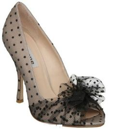 Dune 'Donna D' spotted netting peep toe