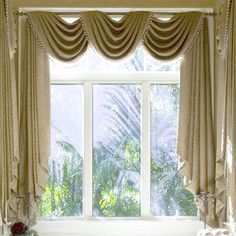 living rooms, window curtains, living room curtains, bay window treatments, valanc, bay windows, window design, curtain styles, bedroom curtains