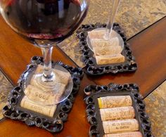 wine cork coaster using old picture frames.