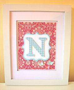 Butterflies Monogram Art - Pink / Blue - Personalized Children's Decor - Baby Girl's Wall Art - Nursery Letters - 3D Paper Art. $34,99, via Etsy.