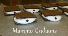 mammo grahams cookie s'mores.  Ha!  Hysterical.  For Breast Cancer Awareness Month