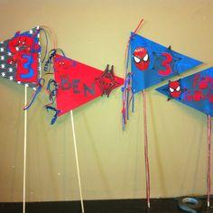 Spiderman birthday pennants.