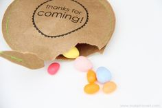 Party Thank You's (filled with candy)  ...adorable idea!