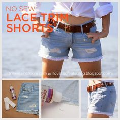 No Sew Lace Trim Shorts from Trinkets in Bloom for ILoveToCreate #ThursDIY