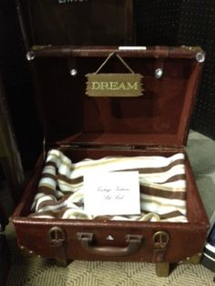"""Vintage Suitcase Pet Bed, They are so fun to create.  This one has sign that says """"Dream"""""""