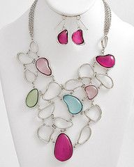 Fill in the Blank Pastel and Silver Statement Necklace-$38-Find hot fashion jewellery and statement jewlry at Strike Envy. #jewellery #jewlry
