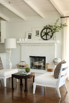 white walls, ceiling, fireplace
