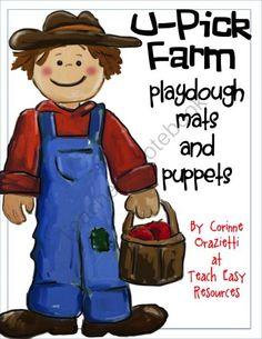 Preschool Playdough Mats - U-Pick Farm Playdough Mats and Puppets freebie