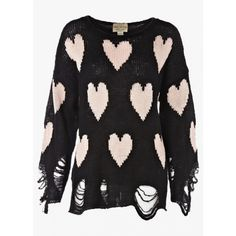 Wildfox - White Label Lennon All Over Love Sweater - Clean Black found on Polyvore