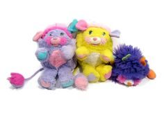 Lot of 3 Vintage POPPLES plush stuffed 1980s toys