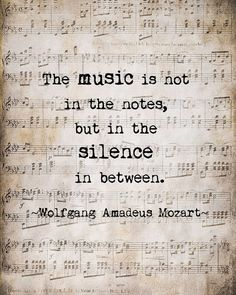Mozart Music Quote Musical Notes Vintage Style Sepia Natural For the Musician, Typography Word Art Print