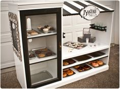 entertainment center repurposed into a play bakery - love it!