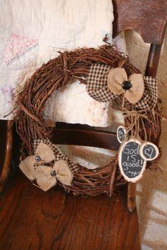 grapevine burlap wreath, burlap bows, primitive burlap wreath, grapevine wreath with burlap, grapevin wreath