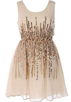 Wedding Sparkler Dress: Features a cute scoop neck teamed with a classic sleeveless design, streams of glittering gold sequins running vertically above and below an elasticized waist, solid cream backside, and a fluid silk chiffon hem to finish.