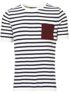 cream stripe knitted t-shirt