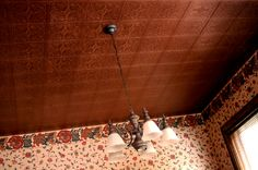An Anaglypta wallpapered ceiling finished in Copper Penny from the Modern Masters Metallic Paint Collections | By Mark Short of Short Brush Stroke Painting in Pittsburgh, PA.