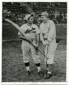 Pepper Martin, St. Louis Cardinals, and Al Simmons, Philadelphia Athletics Joke During 1931 World Series.