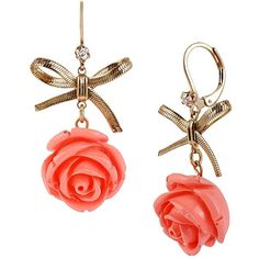 UBetsey Johnson Flower Bow Drop Earring found on Polyvore