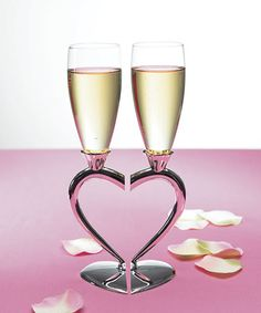 Silver Plated Interlocking Heart Stems with Glass Flutes.