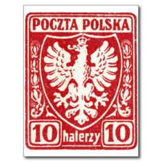1919 10h Polish Eagle Stamp Post Cards from Zazzle.