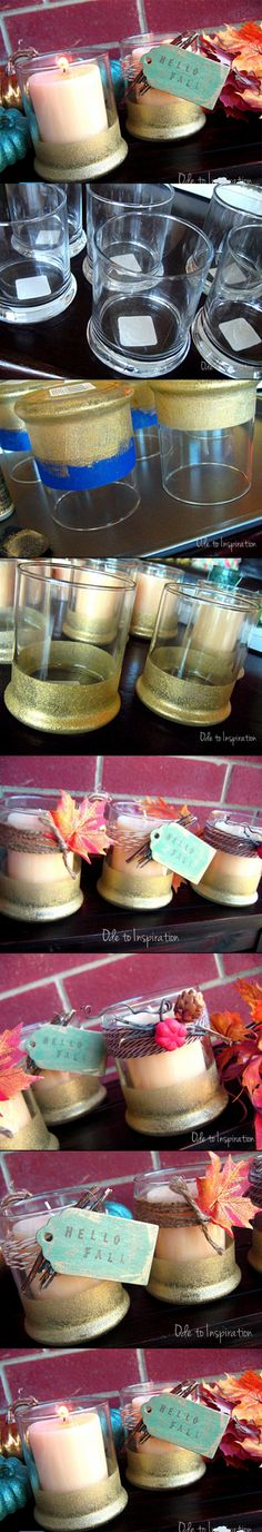 DIY candle jars.  Used candle jars could be used instead of buying drinking glasses.