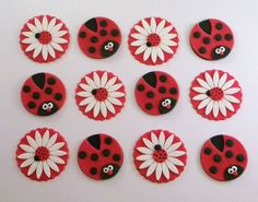 Ladybugs and Daisies Fondant Cupcake Toppers by SweetTopShop