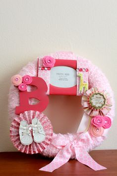 Made to Order Baby Girl Handmade Wreath - 14 inch by HotGlueHangover. $45.00, via Etsy.