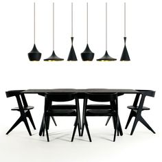 slab rectangle dining table + beat brass lamps. tom dixon