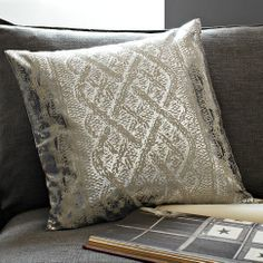 Metallic Faux Knit Pattern Pillow Cover | west elm