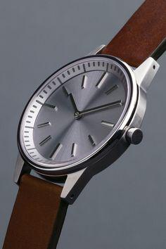 Uniform Wares 250 - Brushed Steel / Walnut Brown Leather