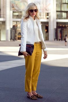 Have mustard pants and a cream blazer. Now I just need the perfect blouse and clutch.