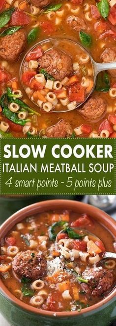 4 Weight Watchers SmartPoints per serving - Slow Cooker Italian Meatball Soup #WeightWatchers #CrockPot #SlowCooker #Recipe #CrockPotLadies