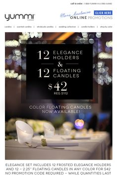 60% OFF The Elegance Set - Color Floating Candles Now Available
